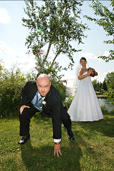 wedding couple with football