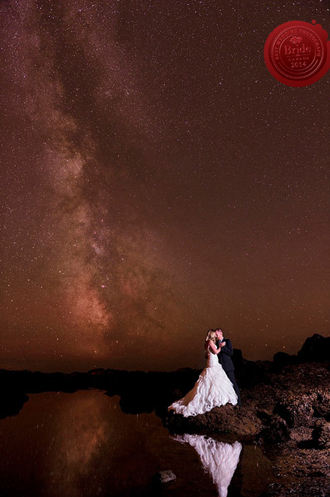 Bride and Groom kissing against the stars and the milky way