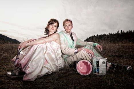 Matt & Sara's paint fight: trash-the-dress wedding photo shoot, by Kyle Perison, Versnon, Okanagan, BC
