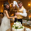 Cutting the wedding cake with an elven sword!
