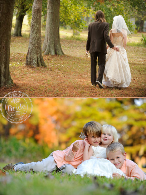 Bride, Groom, children, Autumn Fall wedding