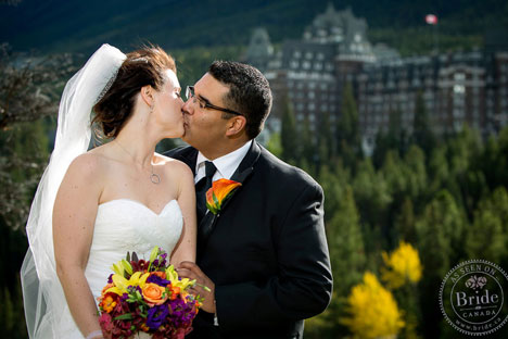 Bride & Groom in Rockies, by Banff Springs Hotel