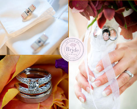 wedding rings, cufflinks & bridal bouquet charms