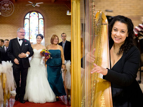 wedding reception, harpist