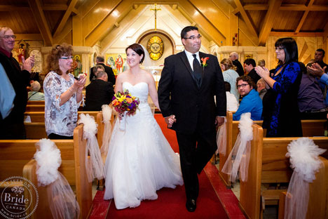 Newlyweds in St Mary's Church, in Banff, Alberta