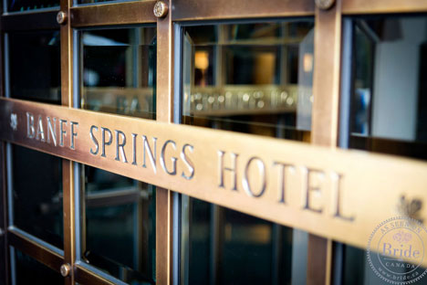 Banff Springs Hotel brass door sign