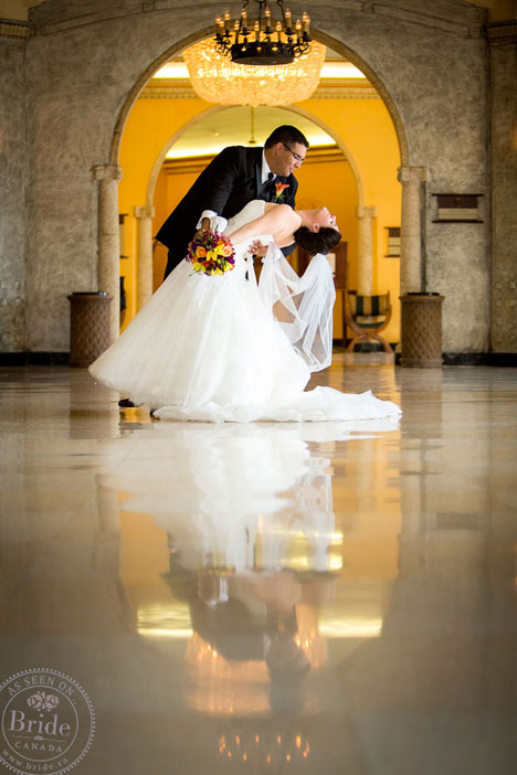 Bride & groom dancing in Fairmont Banff