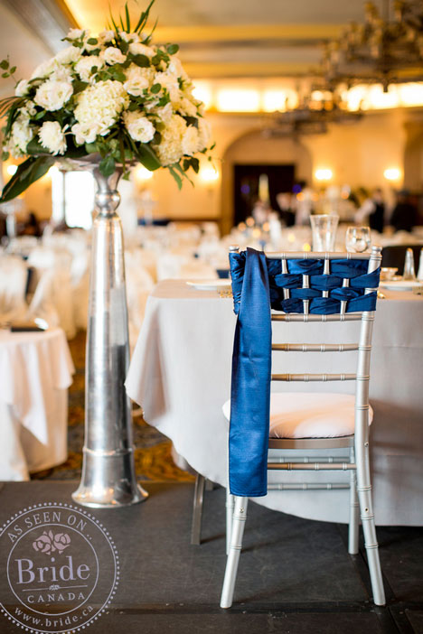 Navy blue and white wedding decor