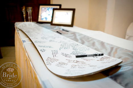 Signed Snow Board wedding guest book