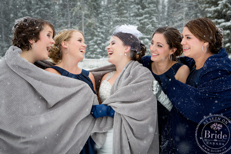 Winter bridal party in blue