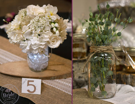 Mason-jar barnyard rustic wedding centrepieces