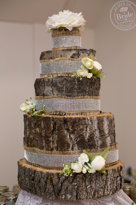 Rustic wedding idea: A fake/faux wedding cake made entirely out of logs!