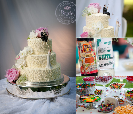 Wedding cake and candy buffet