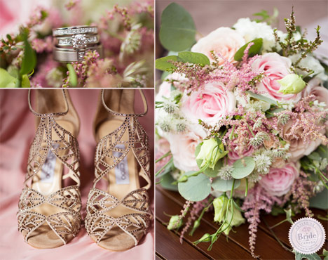 gold kaci jimmy choo heels for wedding with pink and light green floral bouquet