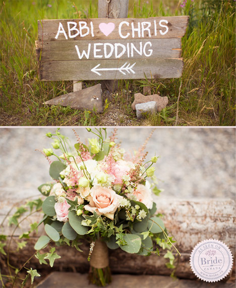hand painted sign for wedding ceremony, bride pink and white bouquet and flower garland for ceremony.