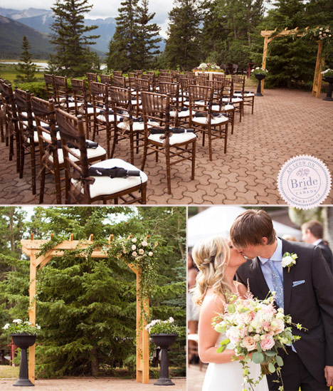 Dark chiavari chairs outdoor wedding ceremony banff alberta bride and groom