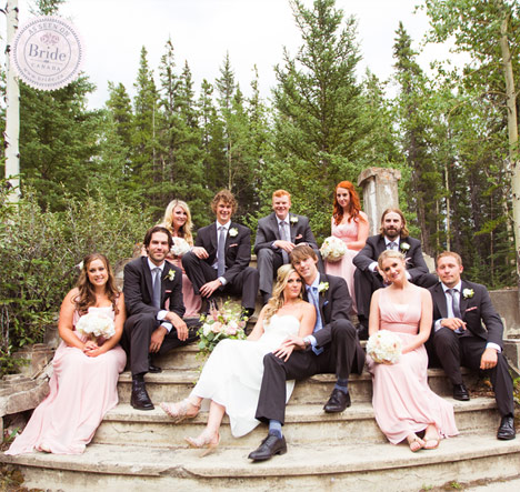 bridal party photography idea outdoor ruins, staircase in the mountains