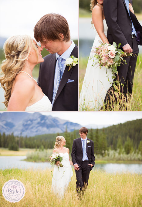 bride and groom wedding photo idea in the mountains and by a lake in banff alberta.