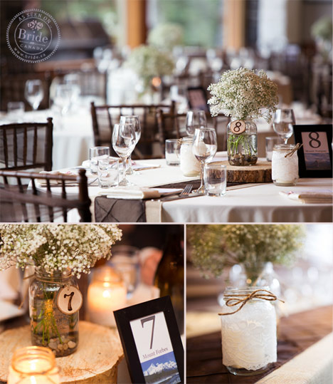 wedding reception at Juniper Hotel and Bistro rustic decor with baby breath and mason jar centrepieces and lace wrapped candles