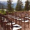 The outdoor patio at the Juniper Hotel offered a picturesque spot for the couple to say their vows.