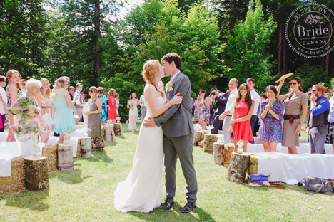 Country wedding ceremony on the green