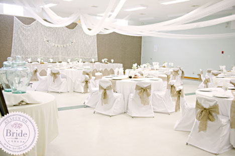 Burlap and chair covers, rustic wedding reception