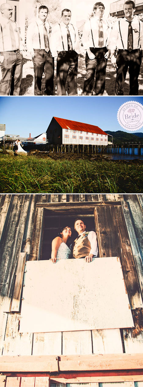 real wedding at the North Pacific Cannery museum northern bc venue bride and groom looking out of window of the First Nations netloft.
