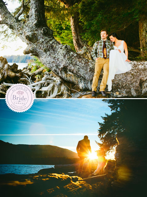 bride and groom sitting on an ancient tree looking out at the Skeena River and walking at sunset