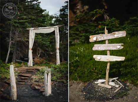 Handwritten driftwood ceremony reception and bonfire wedding sign