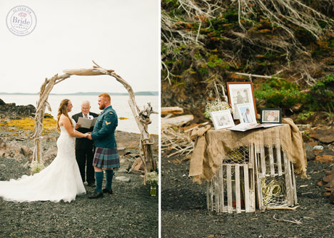 driftwood altar and ceremony decor ourdoor atlantic Canada maritime wedding