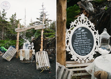 Chalboard sign and driftwood decor outdoor wedding reception maritime newfoundland
