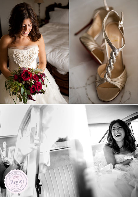 bride getting ready photos and wearing vera wang liesel and Christian Louboutin gold heels