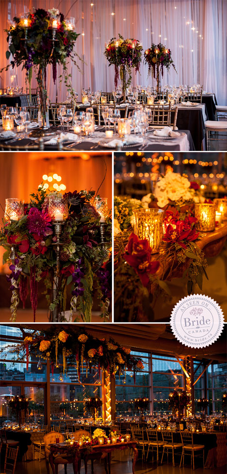 Hundreds of glowing candles in the centrepieces and on the tables cast beautiful light throughout the room.
