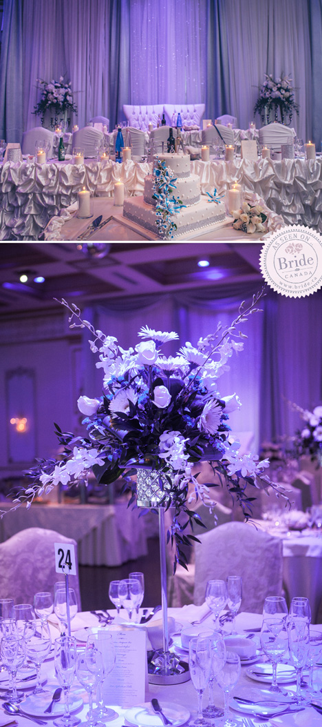 evening reception at the Venetian Banquet Hall in Vaughan white blue and silver decor