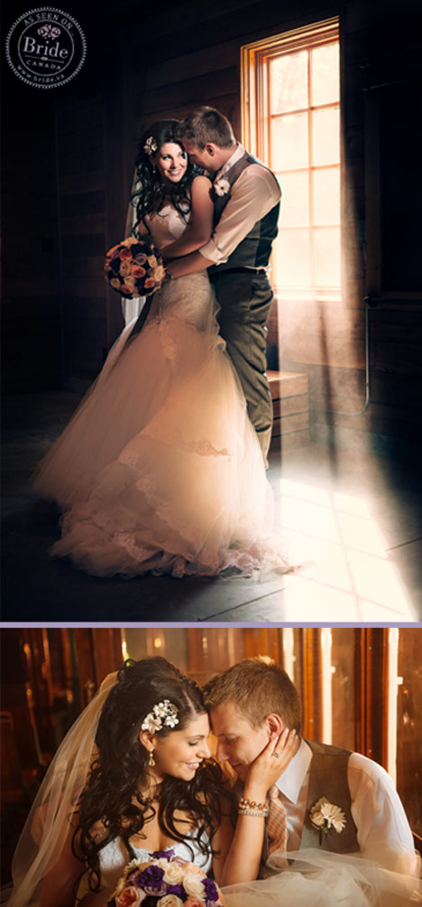 bride and groom standing in front of window with sunlight streaming in