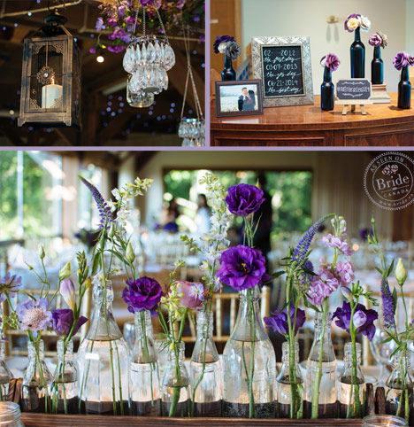 Rustic yet elegant decor with glass vases, hanging lanterns and purple flowers