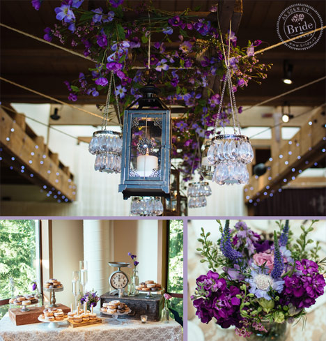 Hanging crystal lights and lanterns with a rustic themed donut dessert table