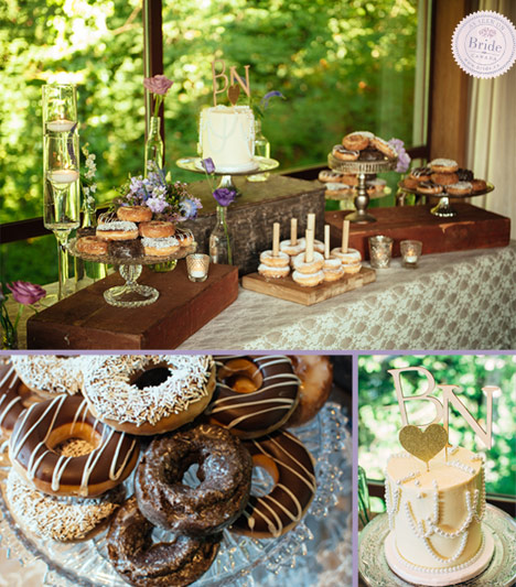 Dessert table with donuts and single tiered wedding cake with initials cake topper