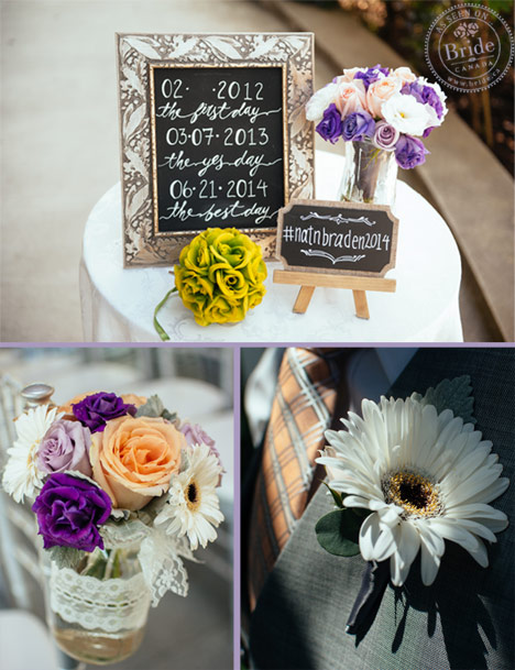 Wedding ceremony decor with mason jar and chalkboard details. Purple, peach, and white flowers.
