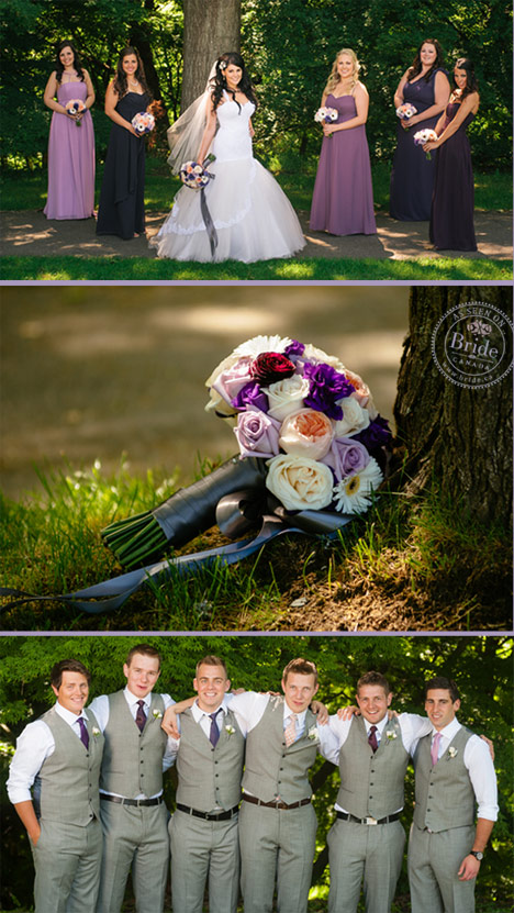 Wedding party with purple bridesmaids dresses and grey suits