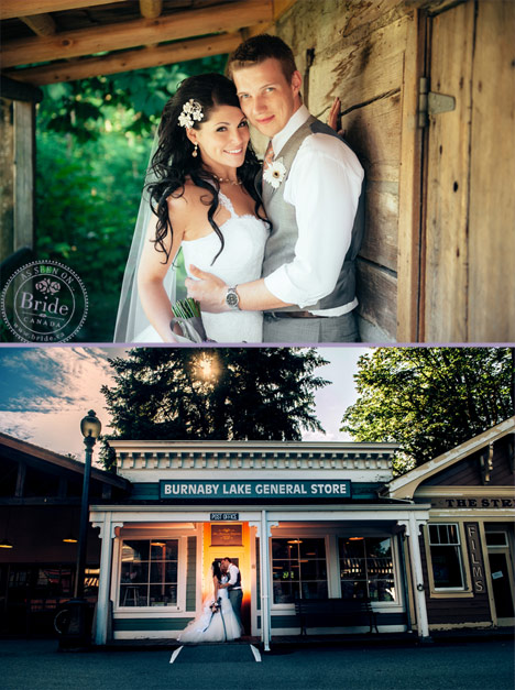 Wedding portraits of bride and groom at the Burnaby Village Museum