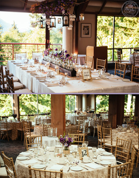 Gold and purple rustic wedding decor at the SFU Diamond Alumni Centre in Burnaby.