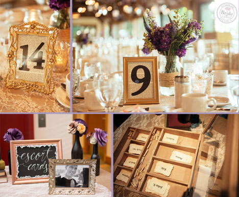 Table numbers in gold frames and escort card table display.