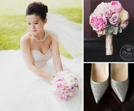 Real bride wearing Tara Keely 2360 pink and purple bouquet and silver jimmy choo heels