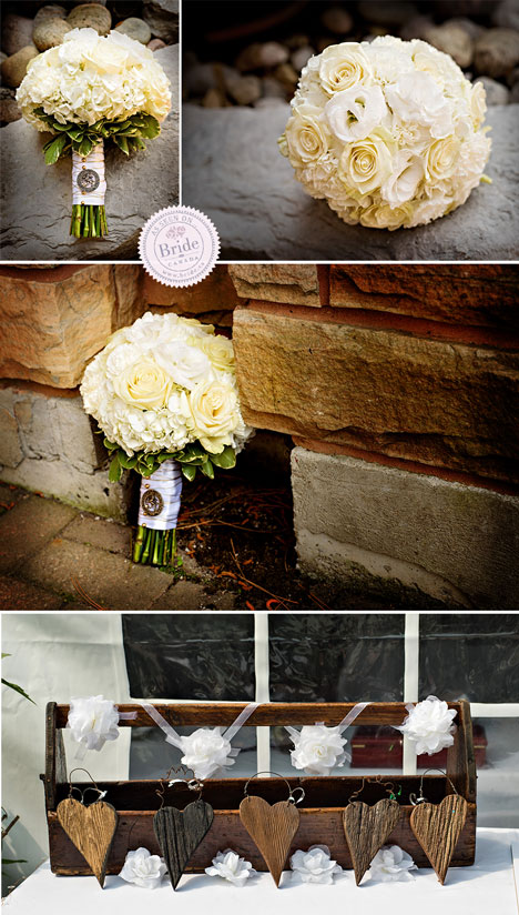 rustic wedding details with wooden hearts and a round white rose bouquet