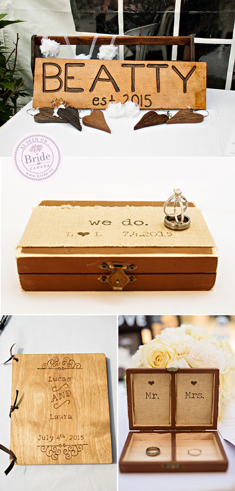 rustic wedding decor wooden family sign wooden ring box and wood carved guest book