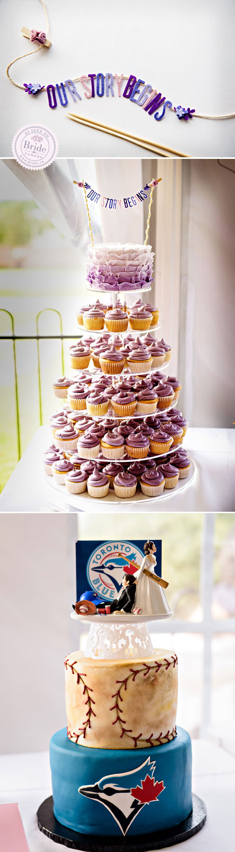 Wedding cupcake tower with ombre cutting cake and blue jays baseball grooms cake