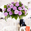 The reception was so beautifully bright with perfect pops up color from the tall centerpieces