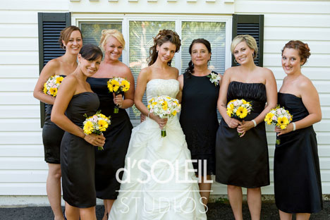 the happy bride and her bridesmaids