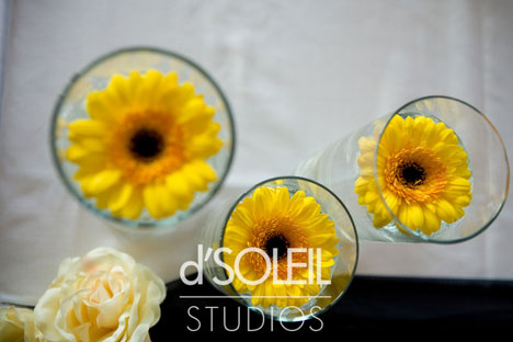 yellow daisy wedding theme throughout the decor